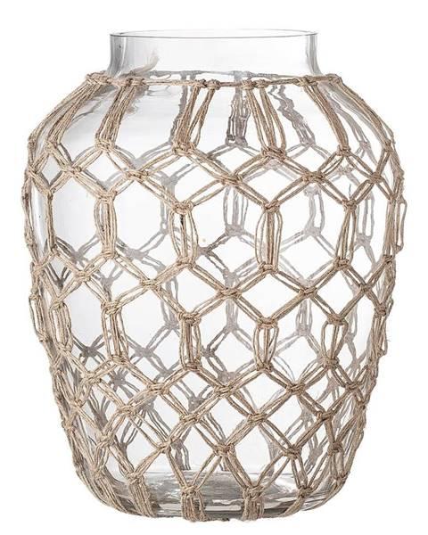 Bloomingville Sklenená váza s prírodnými detailmi Bloomingville Earthiness