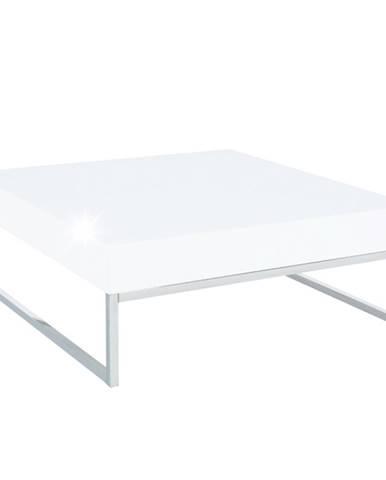 Konferenčný stolík chróm/biela extra vysoký lesk HG BOTTI poškodený tovar