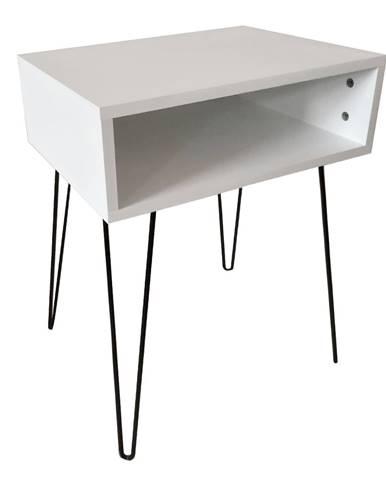 Príručný/nočný stolík biela/čierna HONEJ