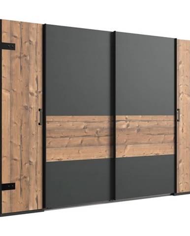 Šatníková skriňa ALYSSA strieborná jedľa/grafit, 272 cm, bez zrkadla