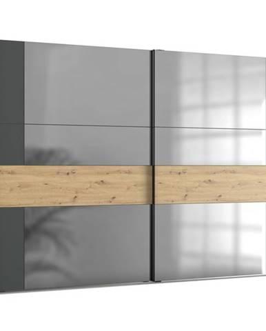 Šatníková skriňa SAVANNA dub artisan/grafit, 300 cm