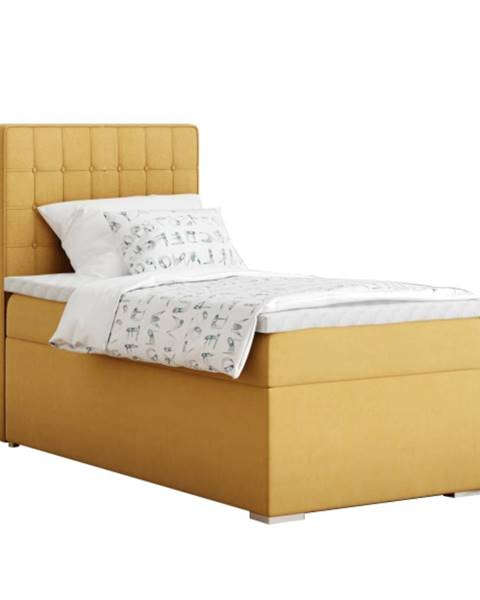 Kondela Boxspringová posteľ jednolôžko horčicová 80x200 ľavá TERY