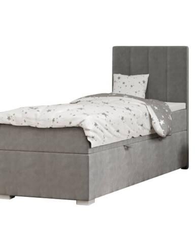 Boxspringová posteľ jednolôžko sivá 80x200 pravá AMIS