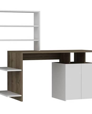 Písací stôl s regálom MELIS biela/orech
