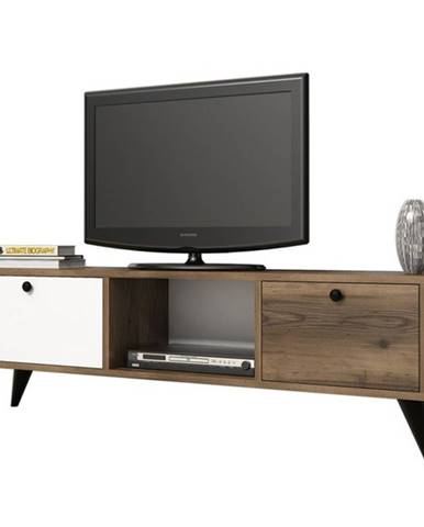 TV stolík SERENAT orech/čierna/biela