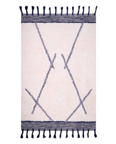 Bielo-sivý bavlnený ručne vyrobený koberec Nattiot Shaanti, 110 x 170 cm