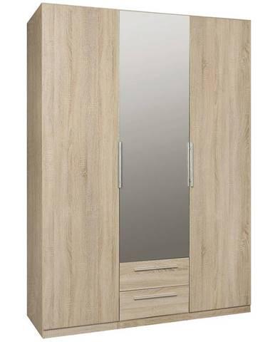 Skriňa Cadixo 150 2D2S1L Dub Sonoma/zrkadlo