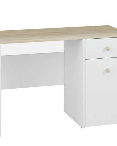 MERKURY MARKET Písací stôl Elmo biely /buk fjord