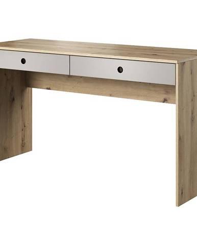 Písací stôl Kuki dub arisan/platina šedá
