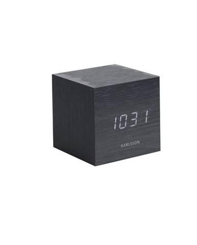 Karlsson 5655BK Dizajnové LED stolné hodiny s budíkom, 8 x 8 cm
