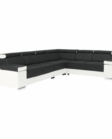 Rohová sedacia súprava biela/čierna ľavá MARBELA 2+3