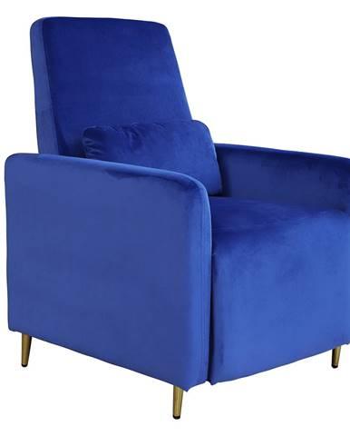 Relaxačné polohovacie kreslo modrá Velvet látka NAURO