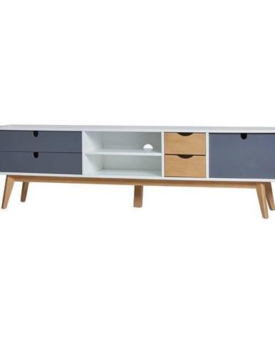 Televízny stolík so sivými detailmi Marckeric Mila, 180 × 37 cm