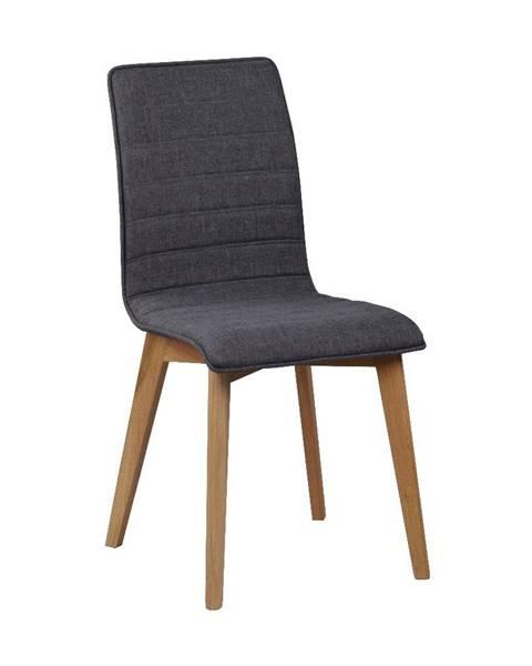 Rowico Tmavosivá jedálenská stolička s hnedými nohami Rowico Grace