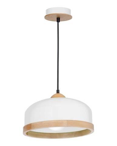 Biele závesné svietidlo s drevenými detailmi Homemania Studio Uno