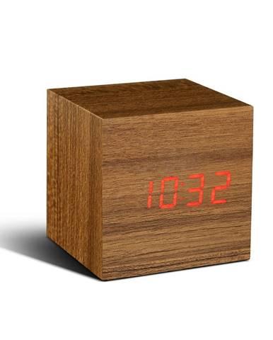 Svetlohnedý budík s červeným LED displejom Gingko Cube Click Clock