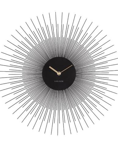 Čierne nástenné hodiny Karlsson Peony, ø 45 cm