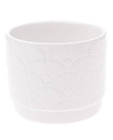 Keramický obal na kvetináč Shells, biela, 10,5 x 8,5 x 8 cm