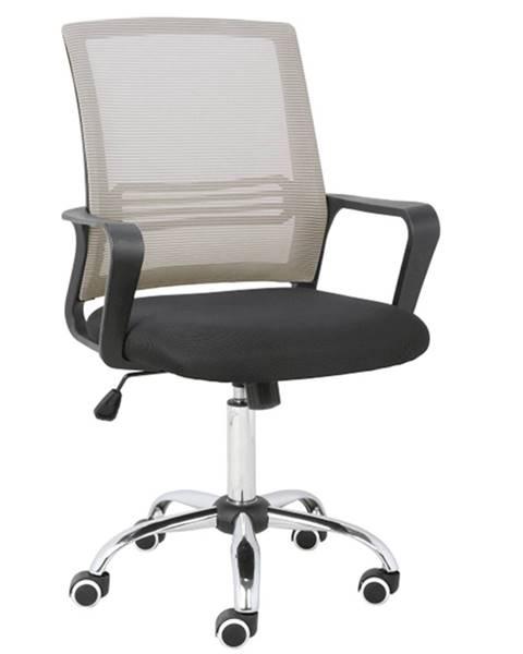 Kondela Kancelárska stolička sieťovina sivohnedá TAUPE/látka čierna APOLO