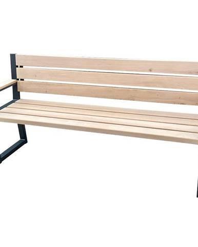 Moderní lavička s opěradlem a područkami přírodní dřevo
