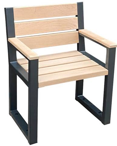 Moderní židle s opěradlem a područkami přírodní dřevo