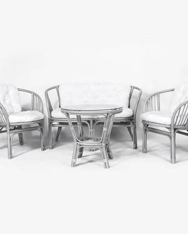 Súprava záhradného nábytku rattan Tropicana 1+2+1 šedá/biely