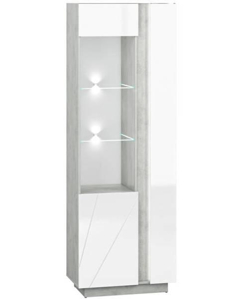 MERKURY MARKET Vitrína Lumens 03L biely lesk/betón