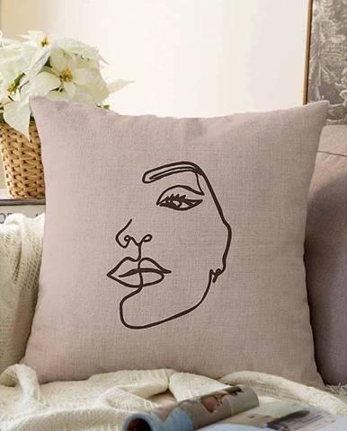 Béžová obliečka na vankúš s prímesou bavlny Minimalist Cushion Covers Chenille, 55 x 55 cm