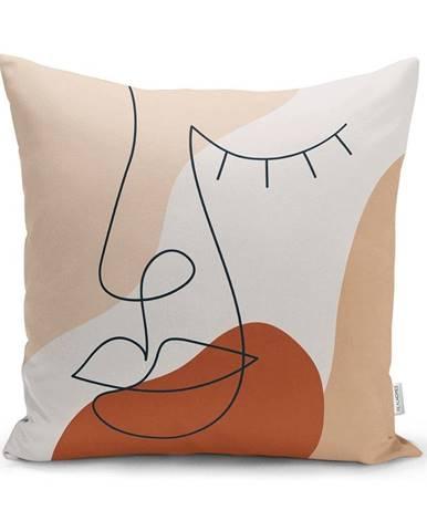 Obliečka na vankúš Minimalist Cushion Covers Drawing Face Pastel, 45 x 45 cm