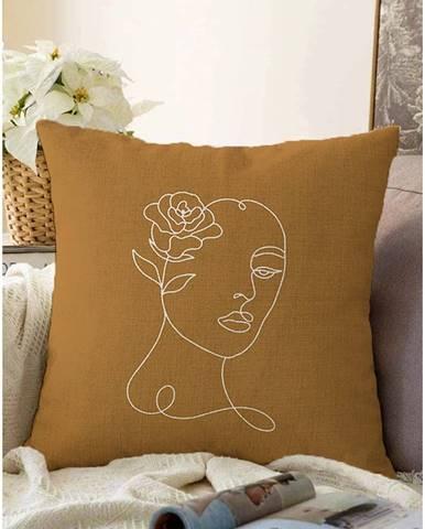 Oranžovohnedá obliečka na vankúš s prímesou bavlny Minimalist Cushion Covers Chenille, 55 x 55 cm