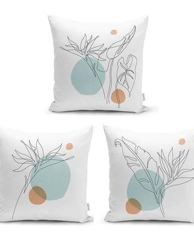 Súprava 3 obliečok na vankúše Minimalist Cushion Covers Drawing Modern, 45 x 45 cm