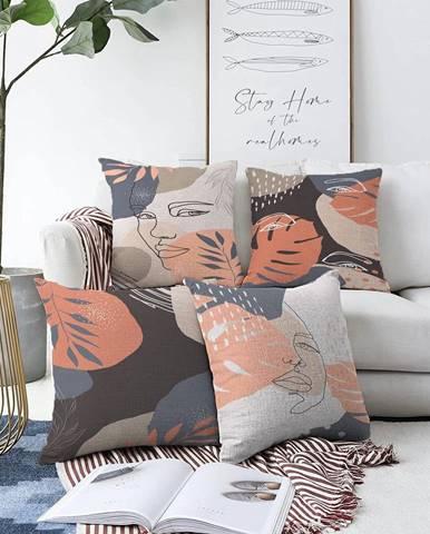 Súprava 4 obliečok na vankúše Minimalist Cushion Covers Abe, 55 x 55 cm