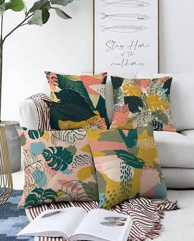 Súprava 4 obliečok na vankúše Minimalist Cushion Covers Colorful Leaves, 55 x 55 cm