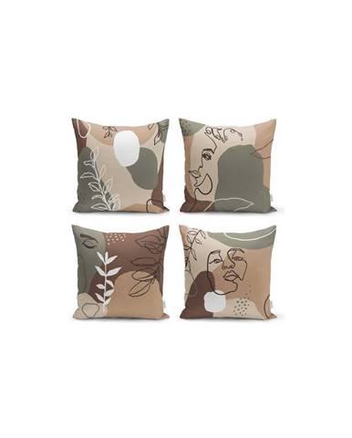 Súprava 4 obliečok na vankúše Minimalist Cushion Covers Drawing Face, 43 x 43 cm