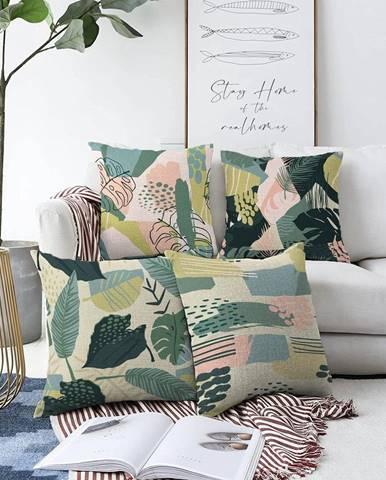 Súprava 4 obliečok na vankúše Minimalist Cushion Covers Leaves, 55 x 55 cm