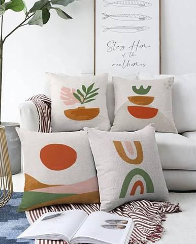 Súprava 4 obliečok na vankúše Minimalist Cushion Covers Succulent, 55 x 55 cm