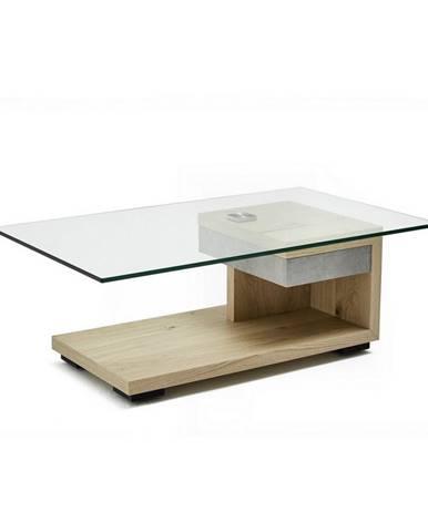 Moderano KONFERENČNÝ STOLÍK, biela, farby orecha, drevo, kov, sklo, kompozitné drevo, 110/65/40 cm - biela, farby orecha