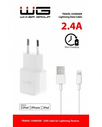 Nabíjačka WG 1xUSB 2,4A + kábel Lightning s MFI, biela
