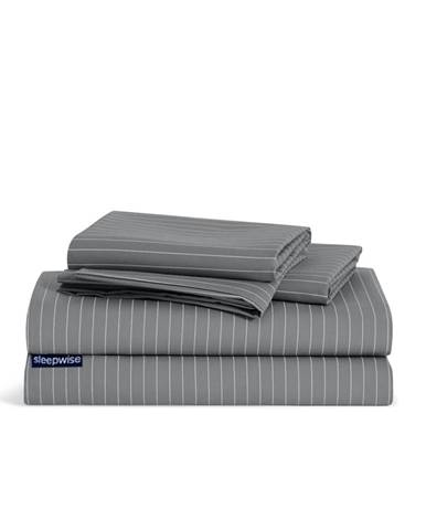 Sleepwise Soft Wonder-Edition, posteľná bielizeň, šedá/biela pruhovaná, 155 × 200 cm, 80 x 80 cm