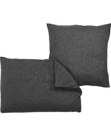 VERMONT Flanelové obliečky 135 x 200 cm / 80 x 80 cm - tm. šedá