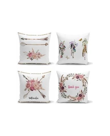 Súprava 4 dekoratívnych obliečok na vankúše Minimalist Cushion Covers Flower Key, 45 x 45 cm