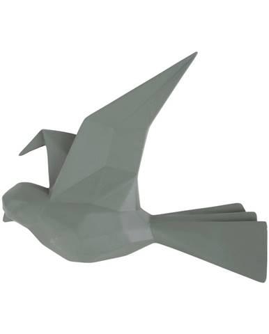 Zelený nástenný vešiak v tvare vtáčika PT LIVING, šírka 19 cm