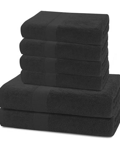DecoKing Sada uterákov a osušiek Marina čierna, 4 ks 50 x 100 cm, 2 ks 70 x 140 cm