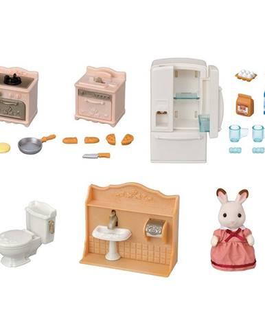 Sylvanian families 5449 štartovací set nábytku a Chocolate králik mamka