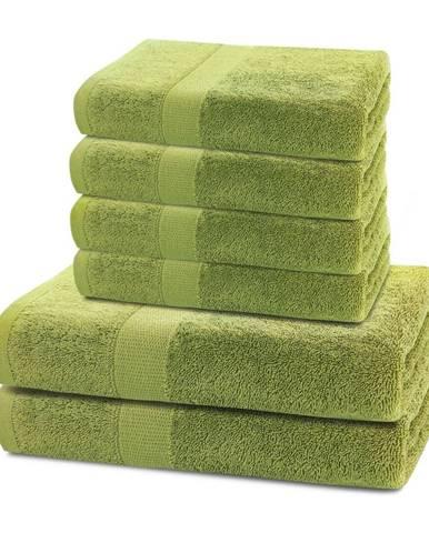 DecoKing Sada uterákov a osušiek Marina zelená, 4 ks 50 x 100 cm, 2 ks 70 x 140 cm