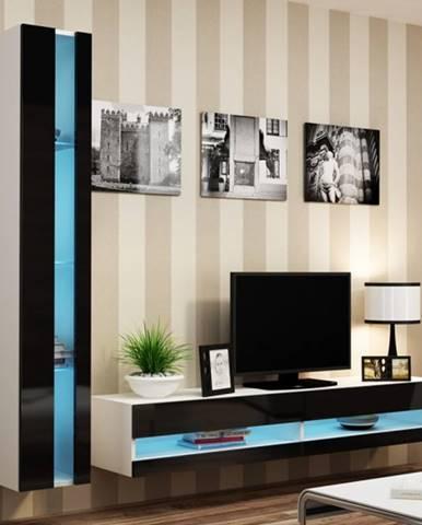 Artcam Otvorená vitrína Vigo čierna / biely lesk