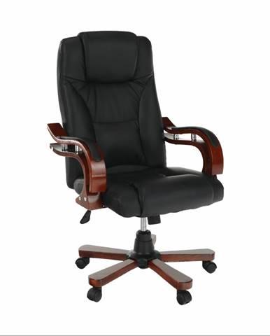 Kancelárske kreslo čierna ekokoža/čerešňa PAULOS rozbalený tovar