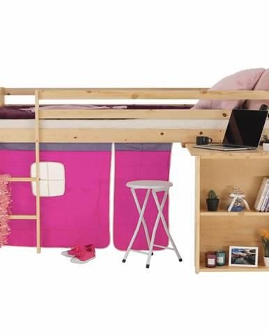 Posteľ s PC stolom borovicové drevo/ružová 90x200 ALZENA rozbalený tovar