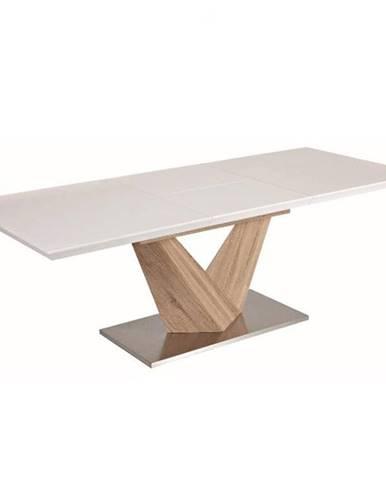 Jedálenský stôl biela extra vysoký lesk HG/dub sonoma DURMAN