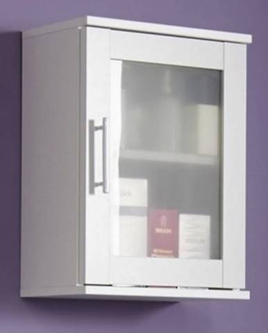 Kúpeľňová závesná skrinka Orlando, biela / satinované sklo%